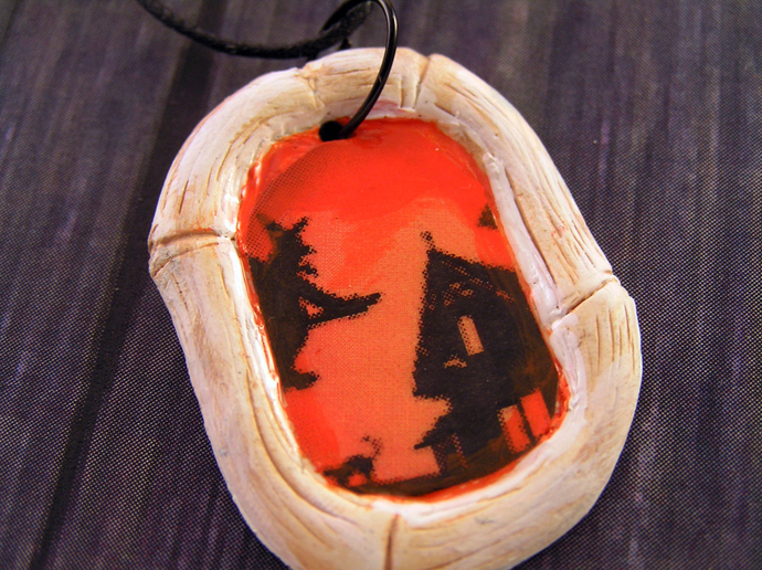 Halloween Witch pendant with spooky bones frame