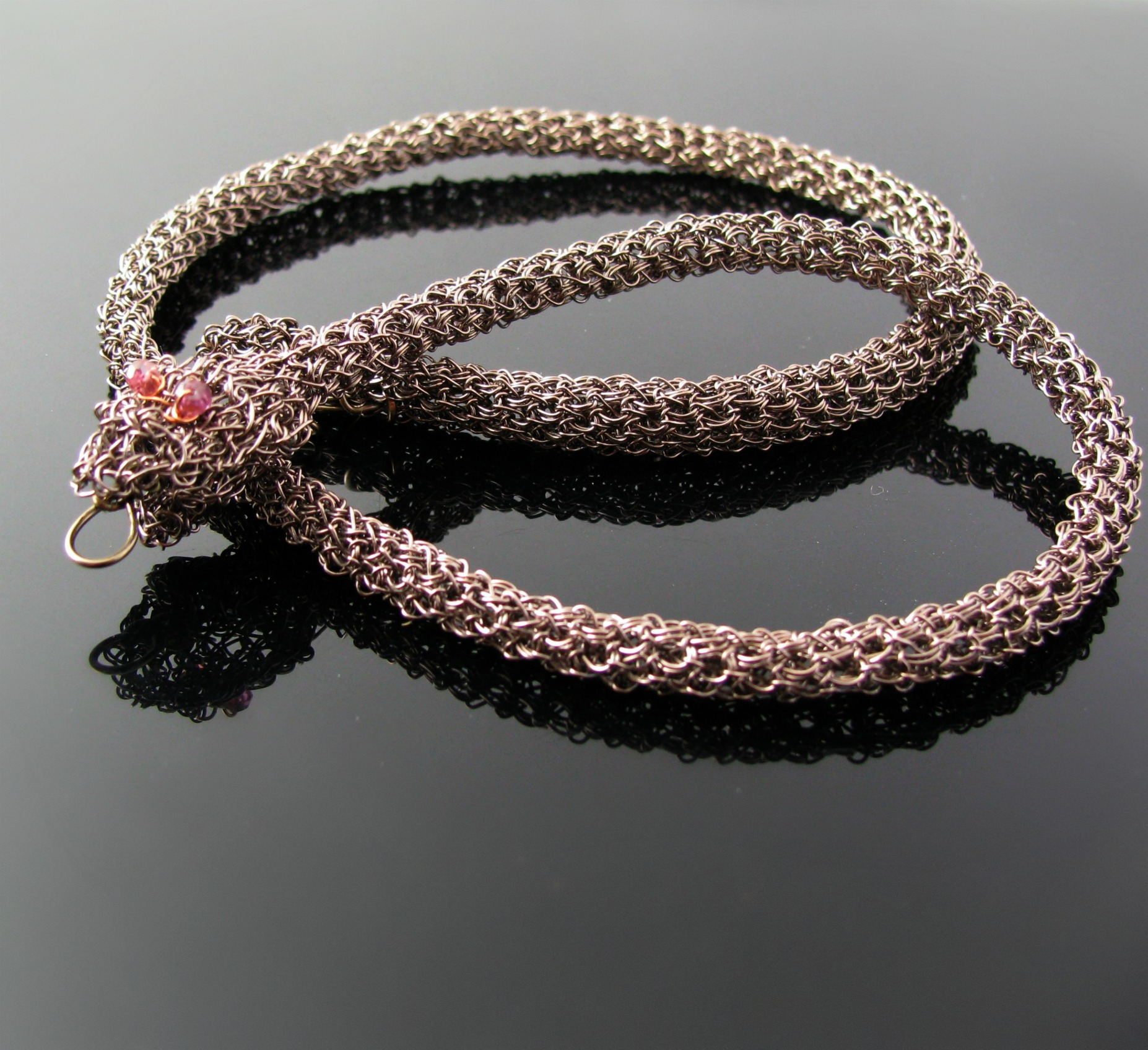 Gunmetal copper wire crochet snake necklace with by CatsWire on Zibbet