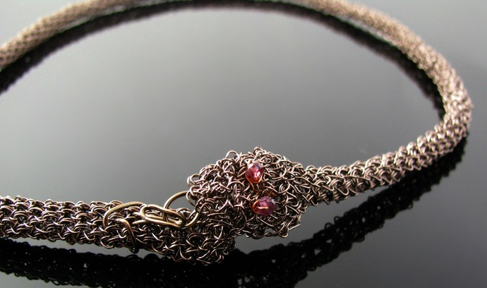 Gunmetal copper wire crochet snake necklace with garnet eyes
