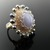 Wire knit ring with blue lace agate, pearls and mother of pearl