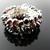 Fine silver wire crochet garnet nugget ring - Blood drops