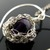 Silver wire crochet pendant with amethyst - Caught in my heart