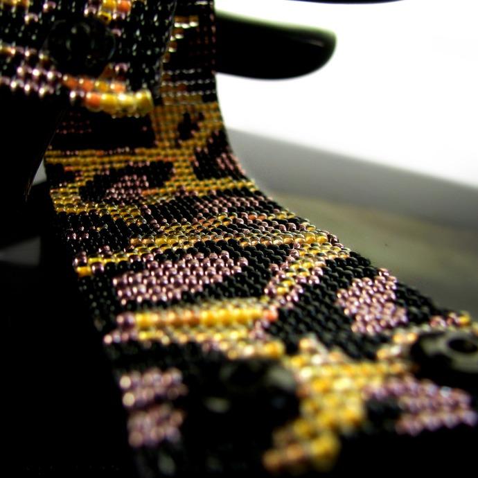 Bead loomed bracelet - Wild leopard