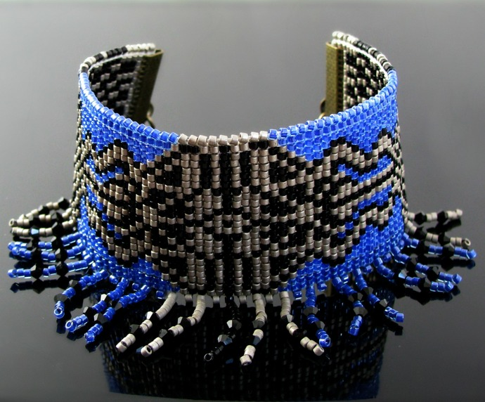 Bead loomed blue and pewter cuff with crystal fringe - Energy