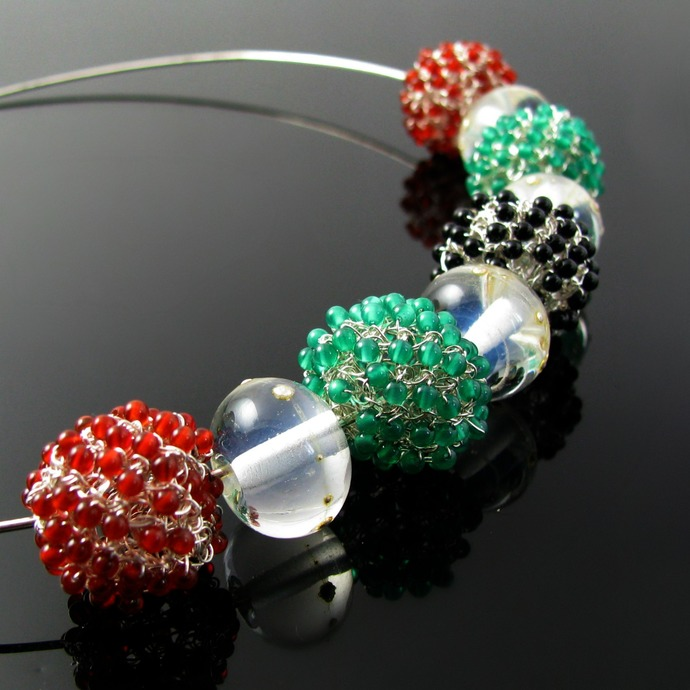 Silver wire crochet lampwork and tiny bead necklace