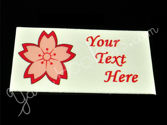 "Cherry Blossom - ""Iron On"" or "" Sew In"" - Cotton Fabric Labels (White) - For"