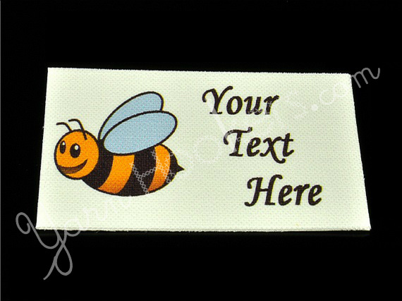 "Bumble Bee - ""Iron On"" or "" Sew In"" - Cotton Fabric Labels (White) - For"