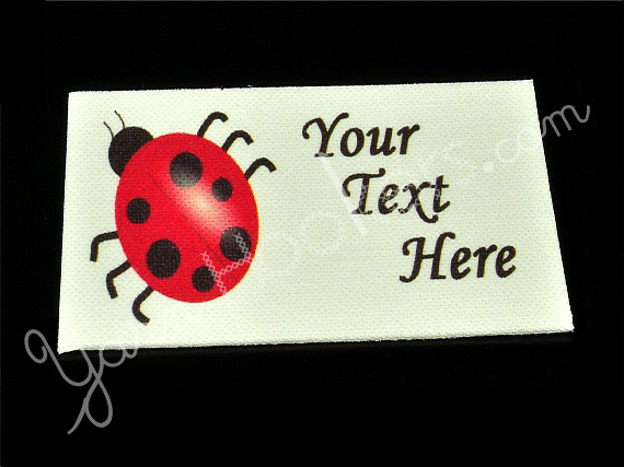 "Lady Bug - ""Iron On"" or "" Sew In"" - Cotton Fabric Labels (White) - For Crochet,"