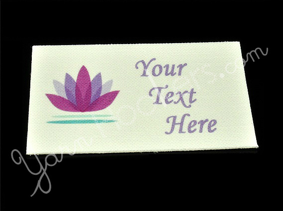 Lotus Flower - Iron On / Sew In - 100% Cotton Fabric Labels (White)