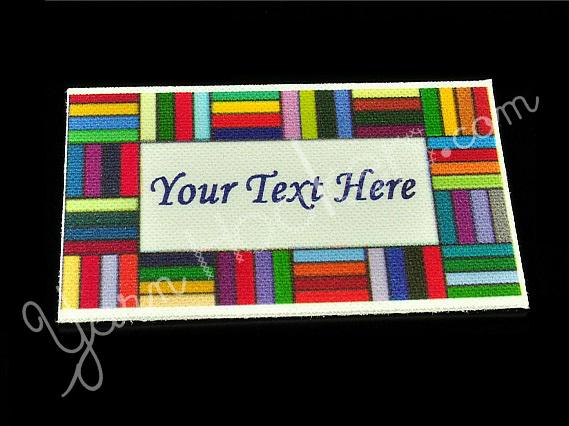 "Border Blocks - Iron On / Sew In - 100% Cotton Fabric Labels (White)- ""Iron On"""