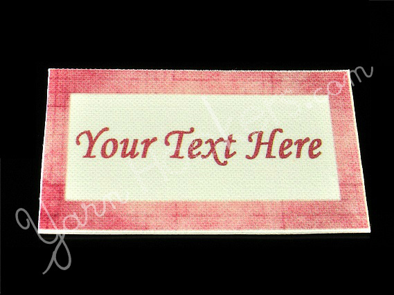 "Pink Border - ""Iron On"" or "" Sew In"" - Cotton Fabric Labels (White) - For"