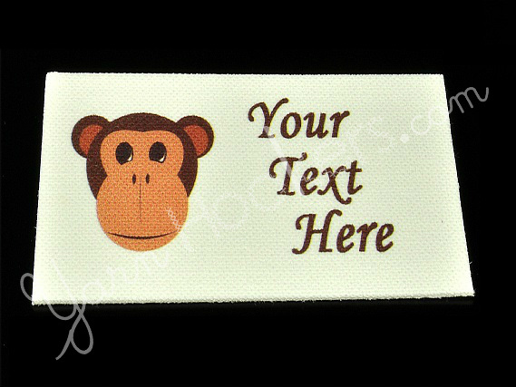 "Monkey Face - ""Iron On"" or "" Sew In"" - Cotton Fabric Labels (White) - For"