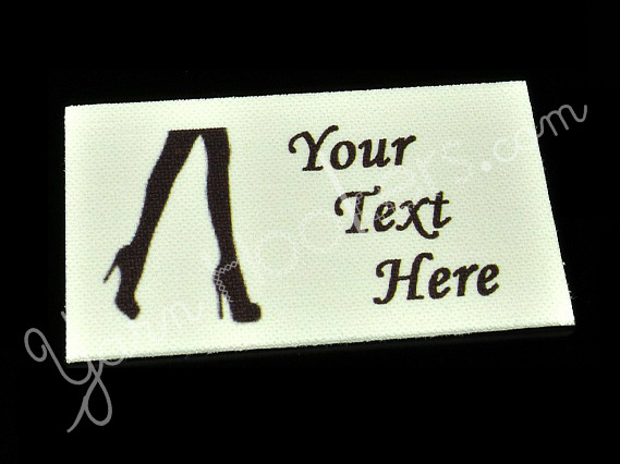 "Stilettos - ""Iron On"" or "" Sew In"" - Cotton Fabric Labels (White) - For Crochet,"
