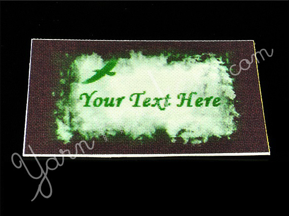 """Green Bird - """"Iron On"""" or """" Sew In"""" - Cotton Fabric Labels (White) - For"""