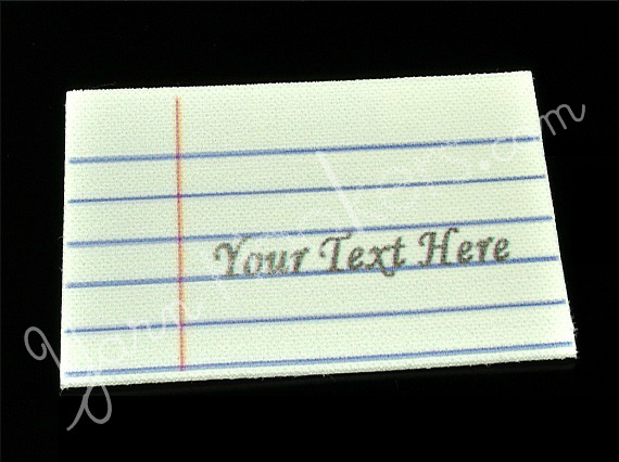 """Notebook Paper - """"Iron On"""" or """" Sew In"""" - Cotton Fabric Labels (White) - For"""