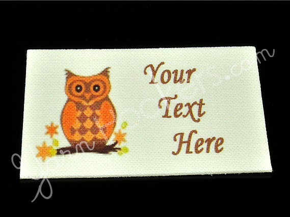 "Orange Owl - ""Iron On"" or "" Sew In"" - Cotton Fabric Labels (White) - For"