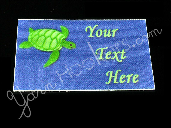 """Turtle - """"Iron On"""" or """" Sew In"""" - Cotton Fabric Labels (White) - For Crochet,"""