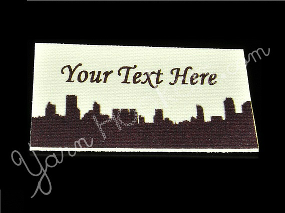 "City Skyline - ""Iron On"" or "" Sew In"" - Cotton Fabric Labels (White) - For"