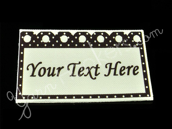 "Polka Dot - ""Iron On"" or "" Sew In"" - Cotton Fabric Labels (White) - For Crochet,"