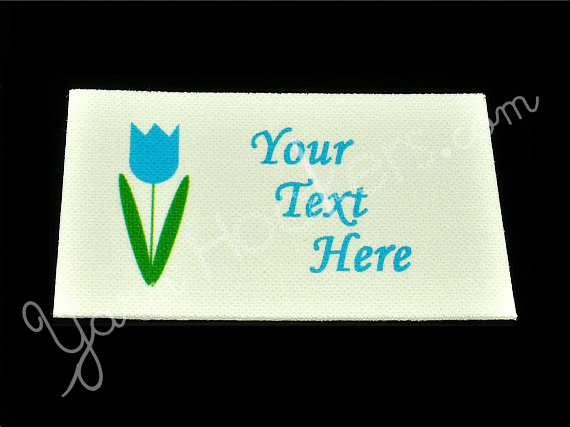 "Tulip Flower - ""Iron On"" or "" Sew In"" - Cotton Fabric Labels (White) - For"