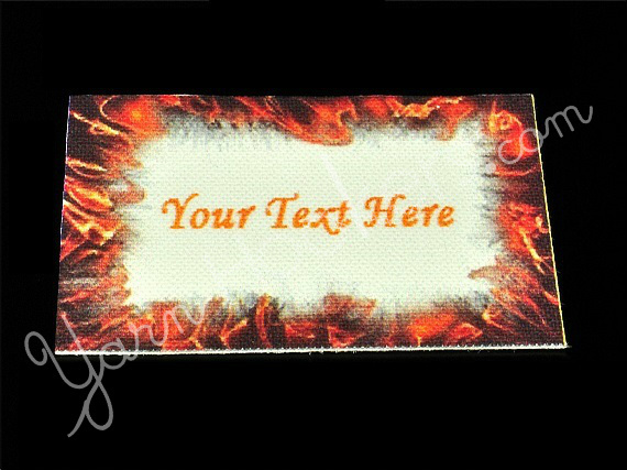 "Flame - ""Iron On"" or "" Sew In"" - Cotton Fabric Labels (White) - For Crochet,"