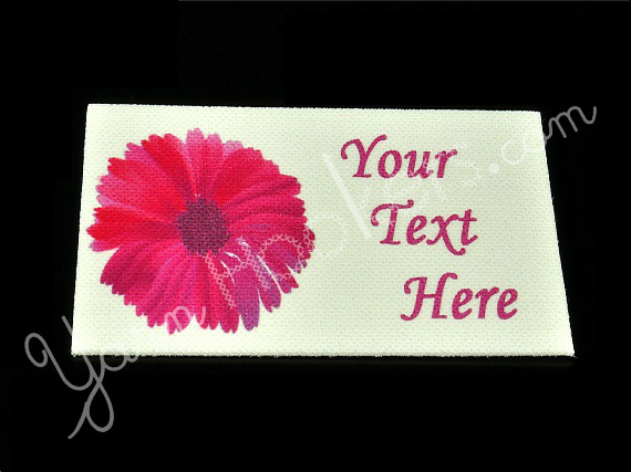 "Pink Flower - ""Iron On"" or "" Sew In"" - Cotton Fabric Labels (White) - For"