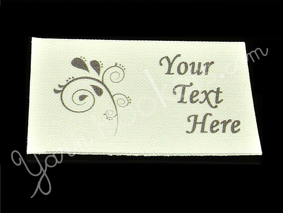 """Paisley Icon - """"Iron On"""" or """" Sew In"""" - Cotton Fabric Labels (White) - For"""
