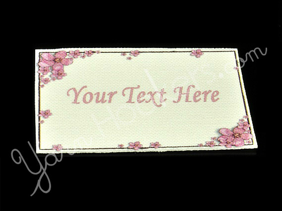 "Pink Flower Frame - ""Iron On"" or "" Sew In"" - Cotton Fabric Labels (White) - For"