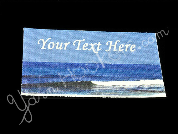 "Ocean Wave - ""Iron On"" or "" Sew In"" - Cotton Fabric Labels (White) - For"