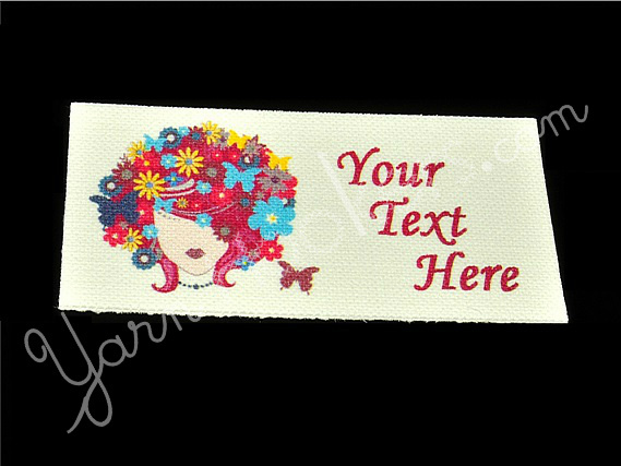 "Queen of Spring - ""Iron On"" or "" Sew In"" - Cotton Fabric Labels (White) - For"
