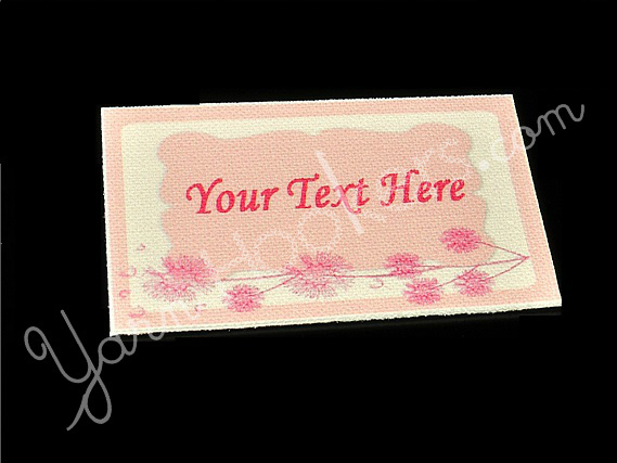 "Pink Dandelion - ""Iron On"" or "" Sew In"" - Cotton Fabric Labels (White) - For"