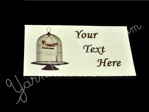 "Bird in a Cage - ""Iron On"" or "" Sew In"" - Cotton Fabric Labels (White) - For"