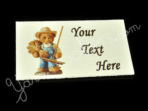 """Teddy the Bear - """"Iron On"""" or """" Sew In"""" - Cotton Fabric Labels (White) - For"""