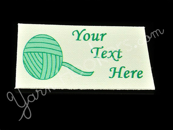 "Yarn Ball - ""Iron On"" or "" Sew In"" - Cotton Fabric Labels (White) - For Crochet,"