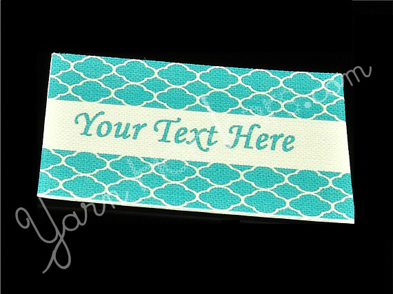 """Blue Shells - """"Iron On"""" or """" Sew In"""" - Cotton Fabric Labels (White) - For"""