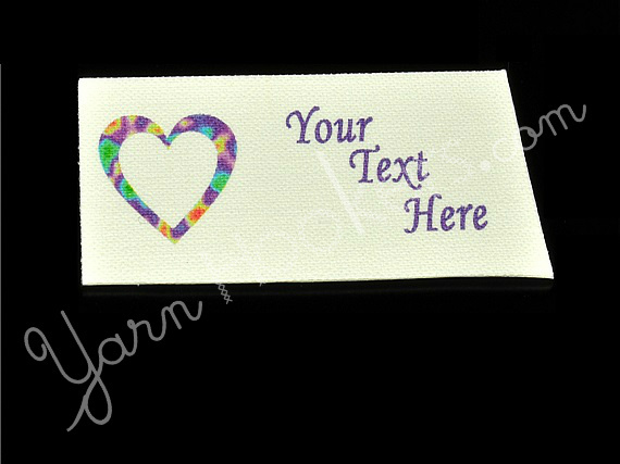 "Hippy Heart - ""Iron On"" or "" Sew In"" - Cotton Fabric Labels (White) - For"