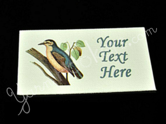 "Chinese Nuthatcher Bird - ""Iron On"" or "" Sew In"" - Cotton Fabric Labels (White)"