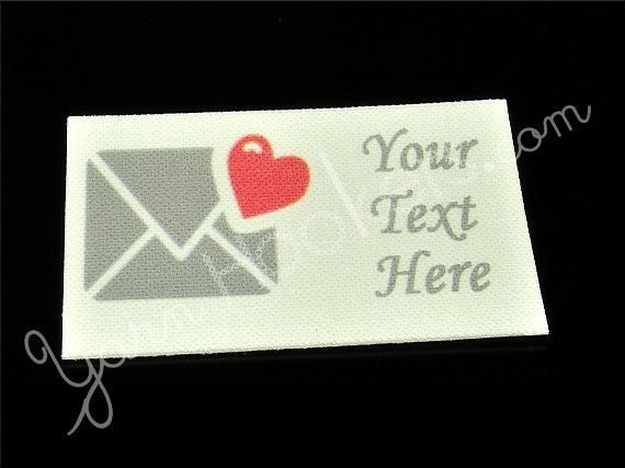"""Love Letter - """"Iron On"""" or """" Sew In"""" - Cotton Fabric Labels (White) - For"""