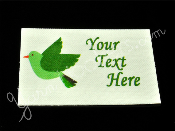 "Emerald Bird - ""Iron On"" or "" Sew In"" - Cotton Fabric Labels (White) - For"