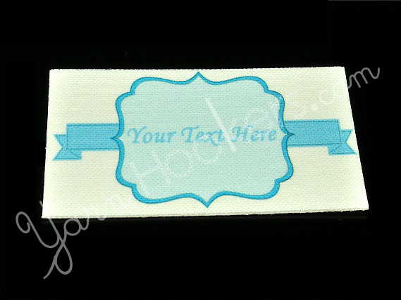 "Blue Banner - Iron On / Sew In - 100% Cotton Fabric Labels (White)- ""Iron On"" or"