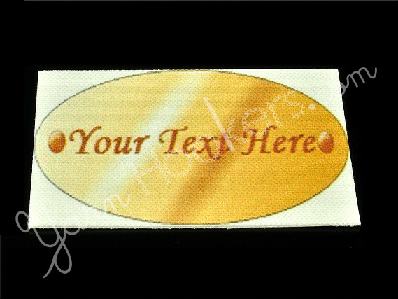 """Oval Copper Metal - """"Iron On"""" or """" Sew In"""" - Cotton Fabric Labels (White) - For"""