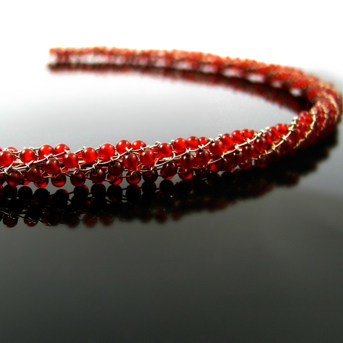 Silver wire knit necklace with red carnelian