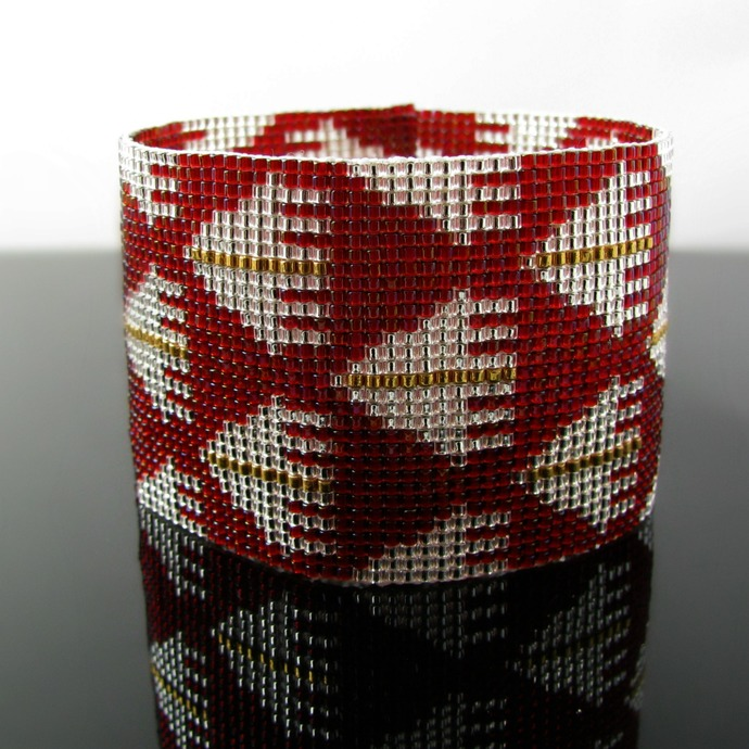 Geometric floor bead loomed bracelet in red, silver and gold