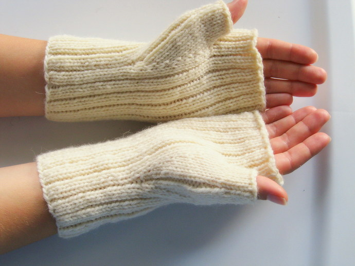 mens or womens fingerless gloves, mittens, cream, natural