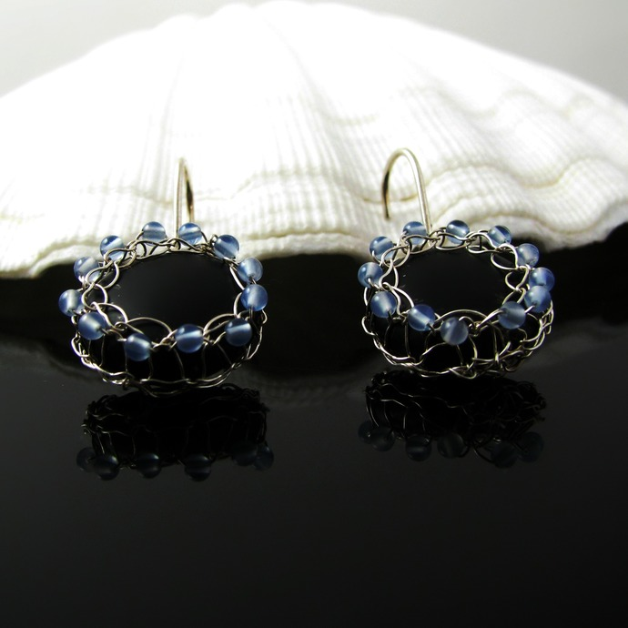 Fine silver wire knit earrings with black and blue agate