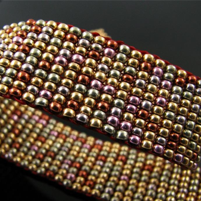 Slim bead loomed bracelet with galvanized beads