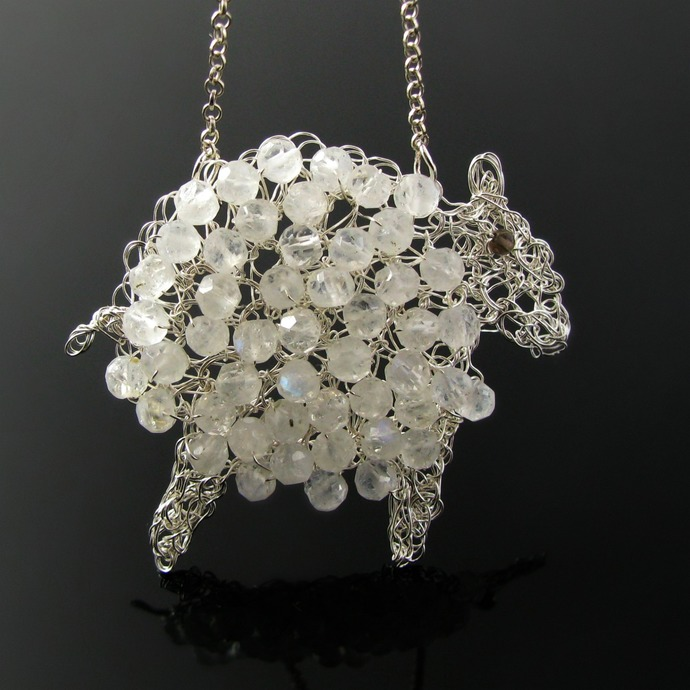 Fine silver wire crochet lamb pendant with moonstones