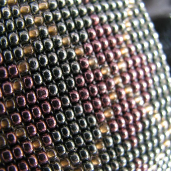 Wide bead loomed fabric pattern bracelet - Argyle