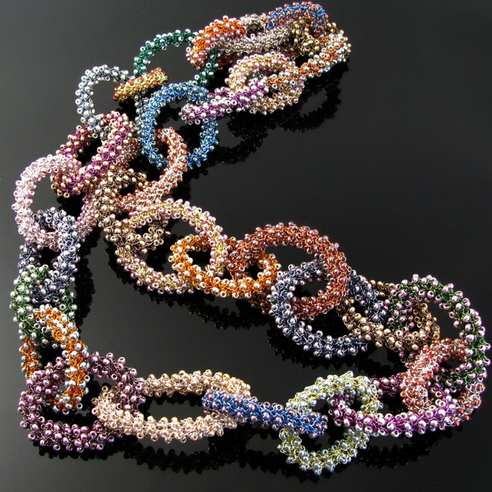 Long colorful wire crochet loop and seed bead necklace - Confetti Loops
