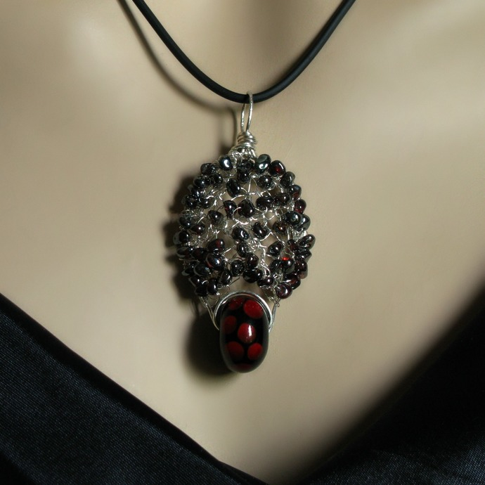 Fine silver wire crochet pendant with garnets and lampwork